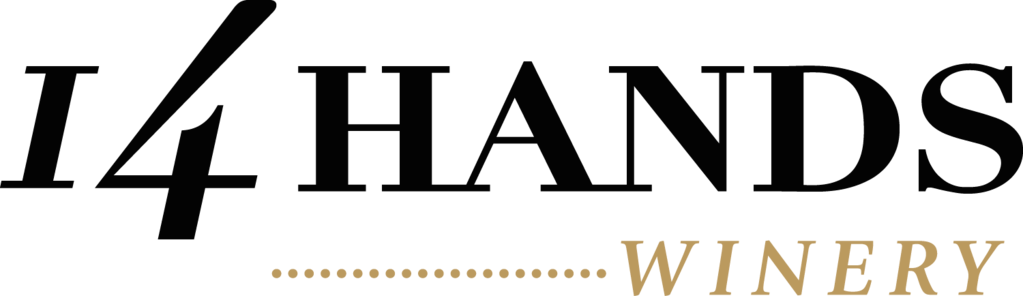 The logo of 14 Hands winery.